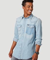 Рубашка джинсовая Wrangler- Rip Away Bleach   (XL)