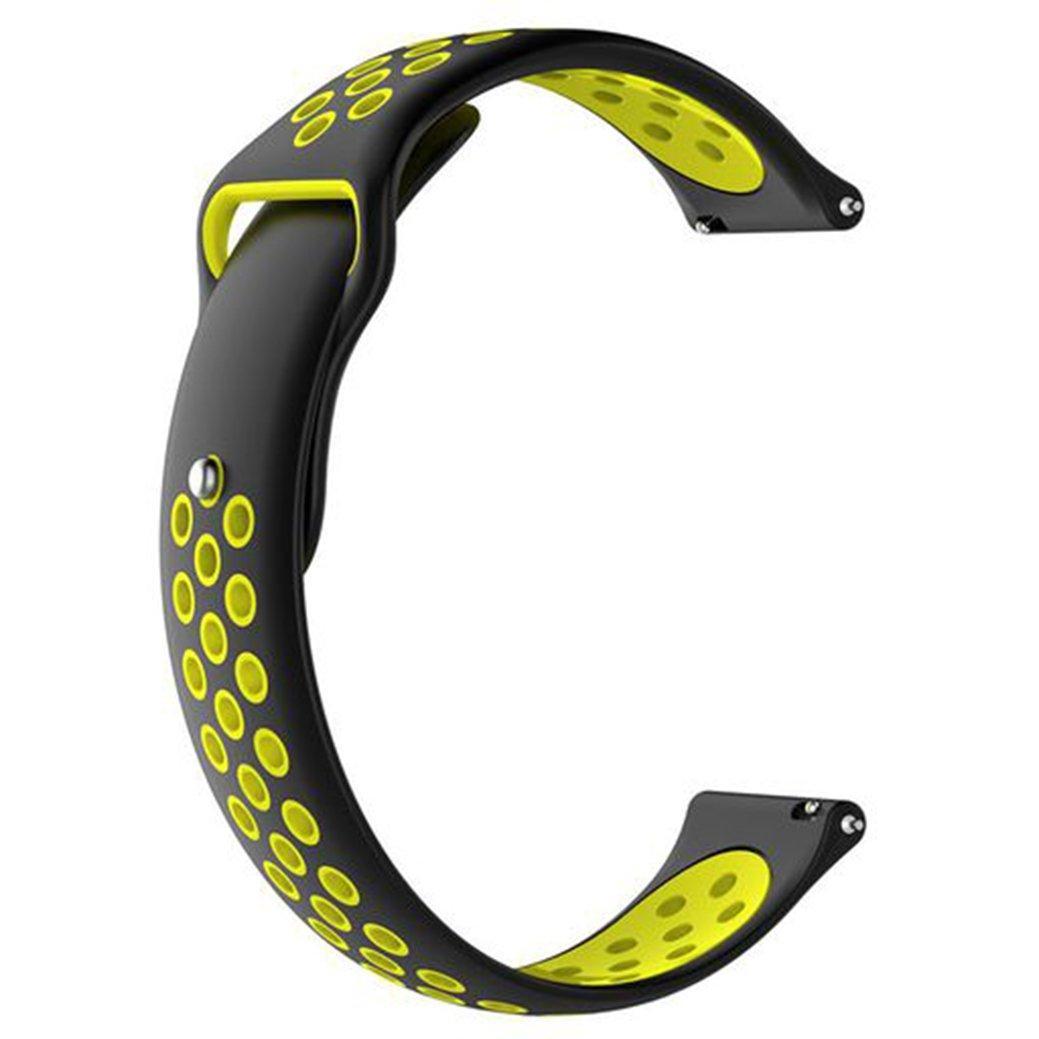 Ремешок BeWatch силиконовый 20мм для  Samsung Galaxy Watch Active   Active 2 40mm Черно - желтый(1010122)