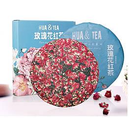 Красный чай Юньнань Дяньхун с розой блин 357 г