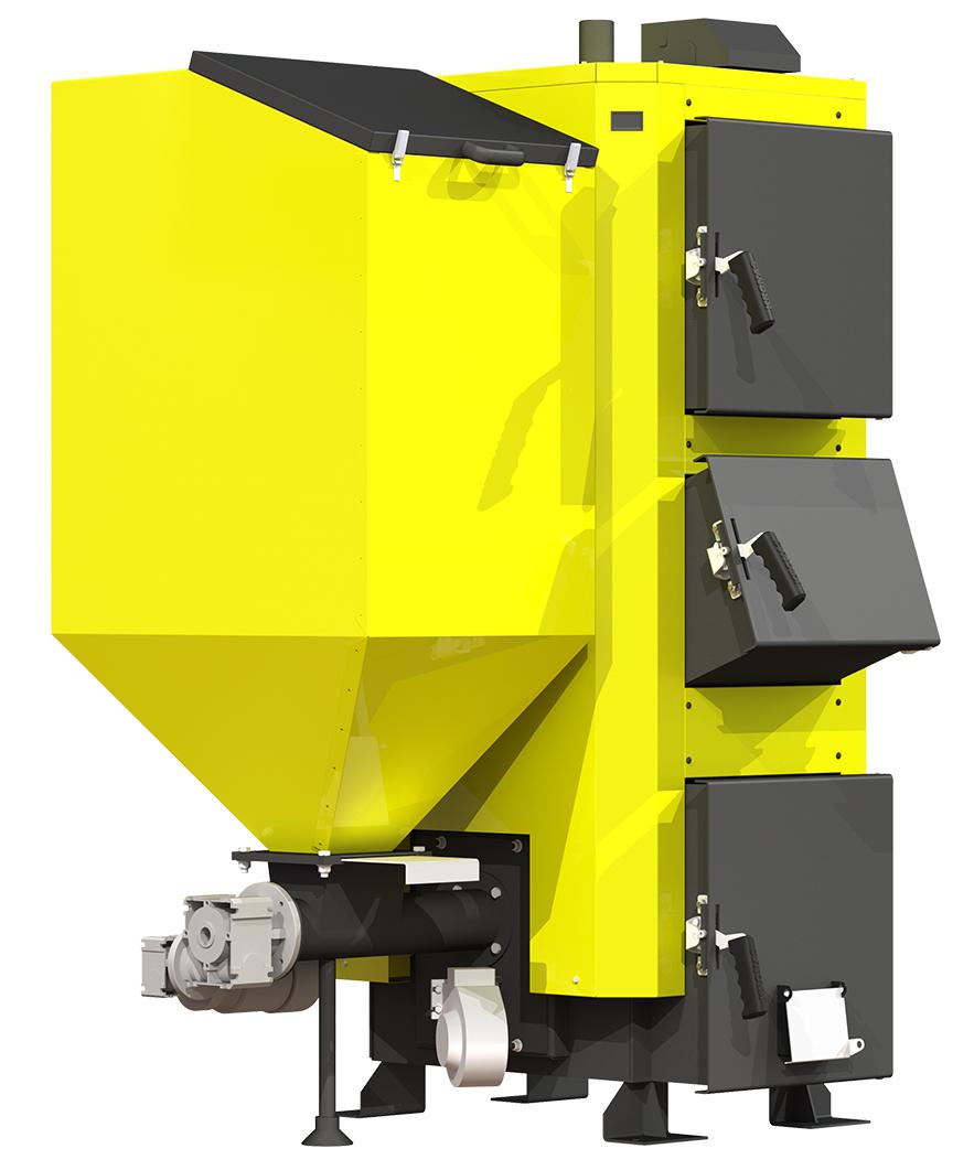 Пеллетный котел для дома Kronas Combi 35 кВт с автоматической подачи топлива и блоком управлением