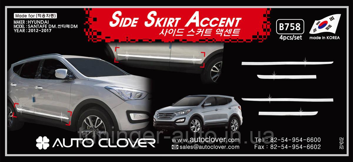 Молдинг дверей хромированный Hyundai Santa Fe 2012-2017 (Autoclover B758)