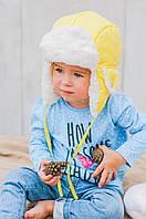 Детская шапка зимняя для девочек БРАЙТИ-2 (лимонный) оптом размер 46-48-50