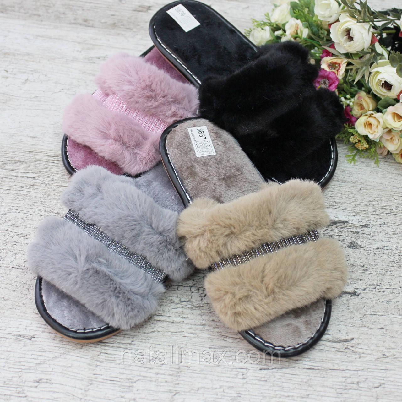 Тапочки домашние открытые, женские, РОСТОВКА от 36 до 41. Пушистые женские тапочки, обувь для дома