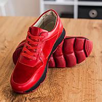 Кроссовки женские кожаные красные весна/осень (натуральная итальянская кожа и замша)