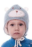 Шапка зимняя с ушками на флисе для мальчика