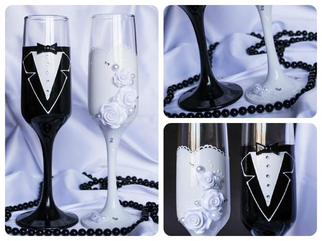свадебные бокалы черный и белый