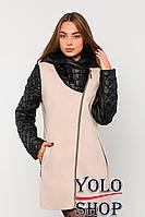 Весеннее кашемировое пальто с мехом №43 плащевка