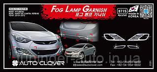 Хром накладки на галогенки Hyundai Elantra 2010-2012 (Autoclover B715)
