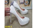 Туфли белые на шпильке с платформой 36, 38, 39 р. (2230-1), фото 5