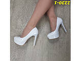 Туфли белые на шпильке с платформой 36, 39 р. (2230-1), фото 8