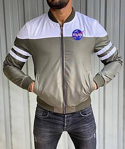 Бомбер весенний мужской NASA White / Grey