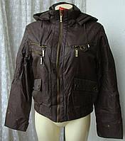 Куртка женская теплая демисезонная капюшон р.48 3889