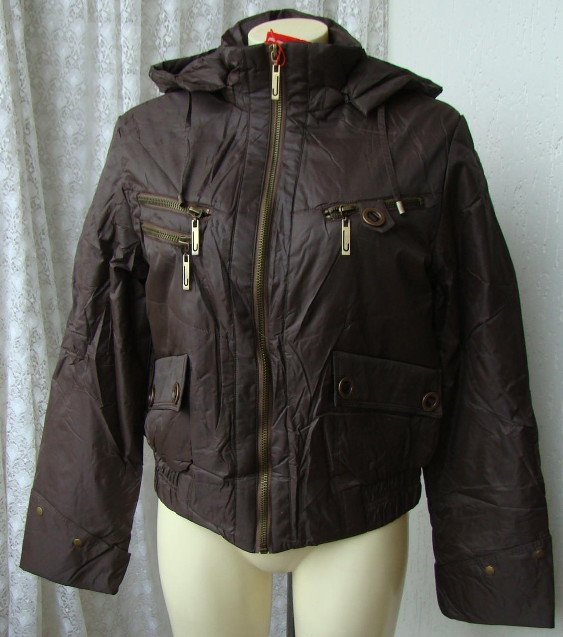 Куртка женская теплая демисезонная капюшон р.48 3889, фото 1