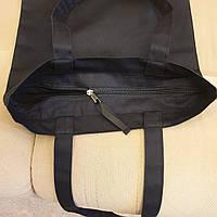 Шоппер чёрный с молнией, ткань саржа, хлопок 100%