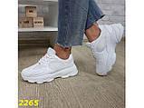 Кроссовки белые на массивной тракторной подошве 36, 37, 38, 39, 40 (2265), фото 3