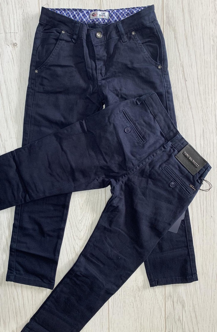Котоновые зауженные штаны для мальчиков подростков  цвет темно синие  152 см