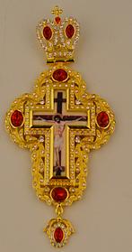 Крест наперстный  золоч. с красными камнями