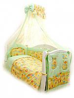 Комплект постільної білизни 8 елементів Twins Comfort Пухнасті ведмедики салатовий