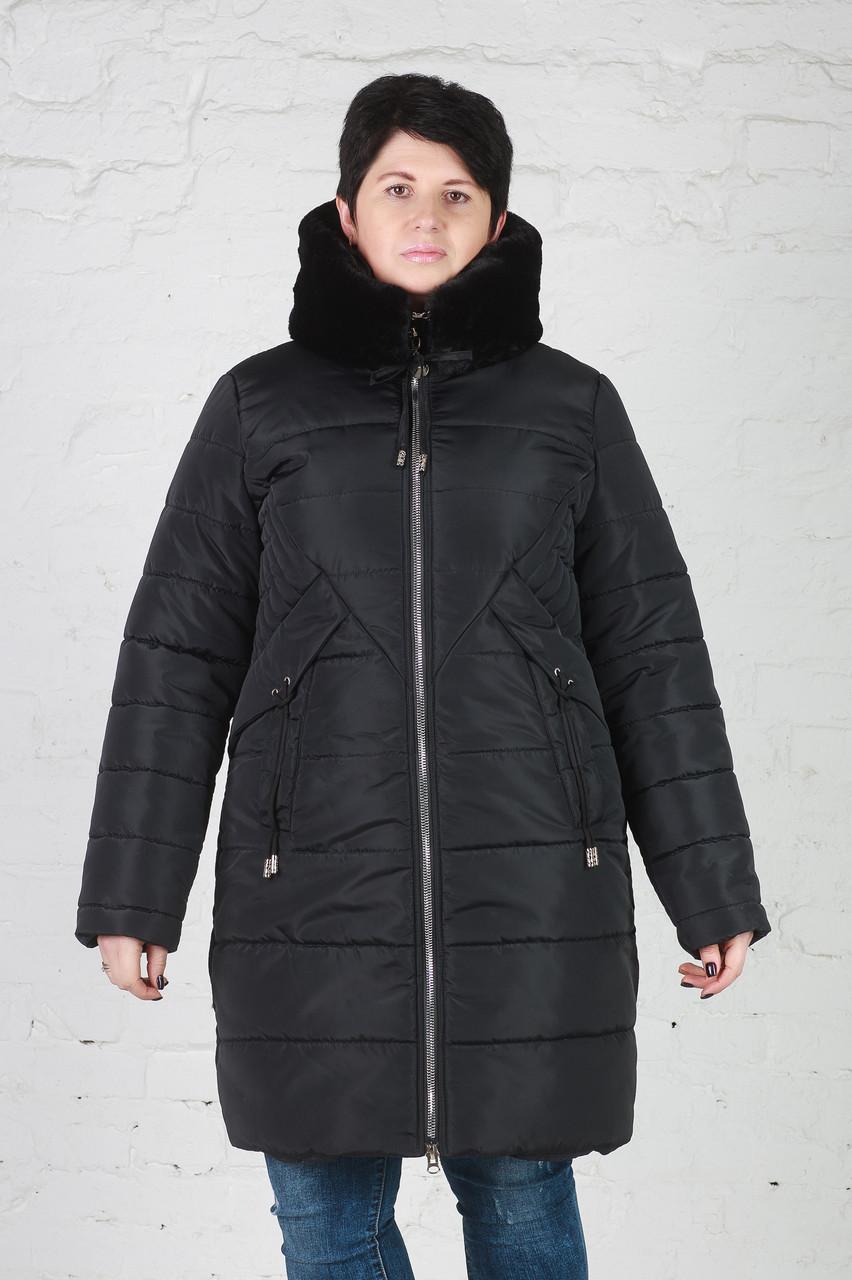 Элегантная женская куртка зимняя Мери 50-58 размер бирюза