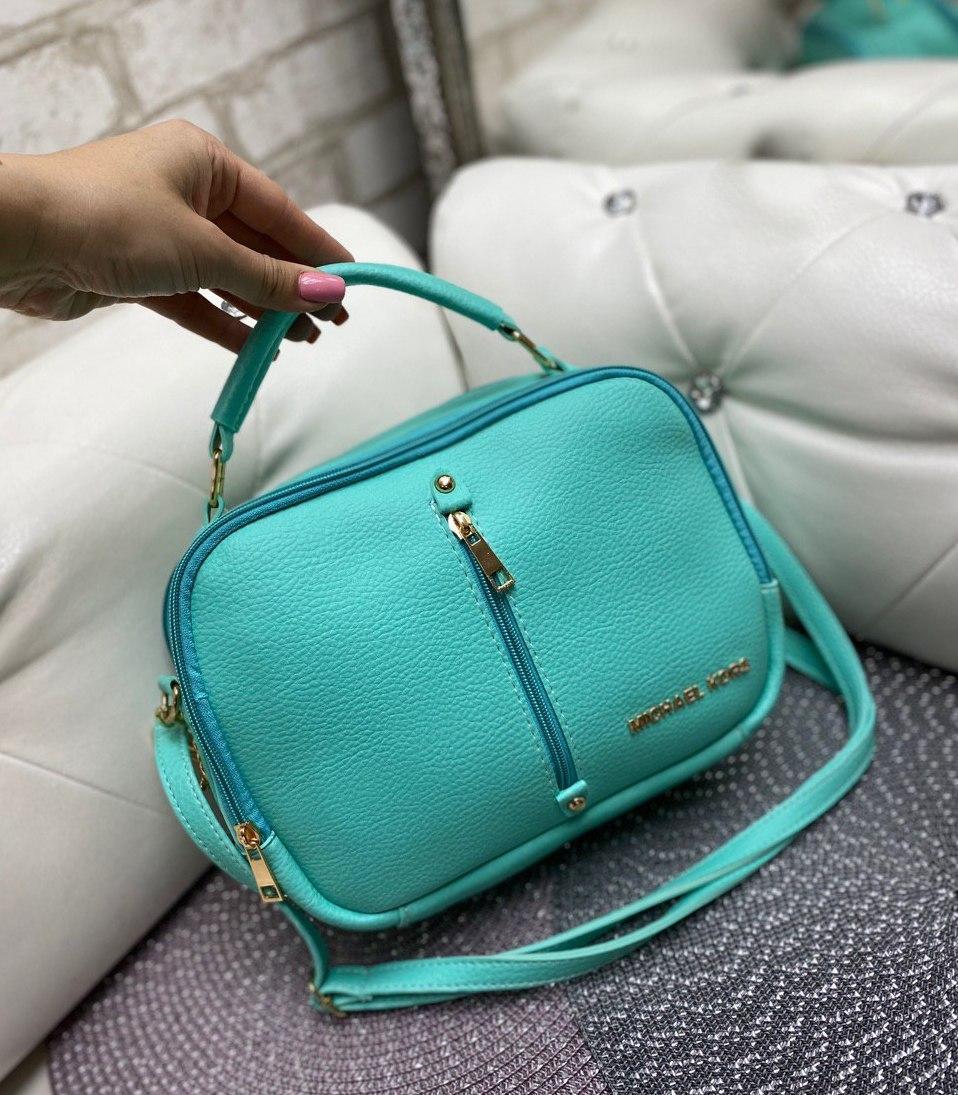 Женская сумка через плечо бирюзовая небольшая сумочка кроссбоди яркая кожзам