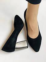 Женские модельные туфли-лодочки высокого качества. Натуральная замша. Цвет черный Рolann. Супер комфорт35-40, фото 5