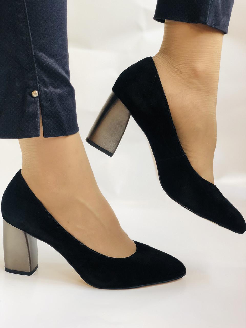 Женские модельные туфли-лодочки высокого качества. Натуральная замша. Цвет черный Рolann. Супер комфорт35-40