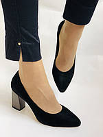 Женские модельные туфли-лодочки высокого качества. Натуральная замша. Цвет черный Рolann. Супер комфорт35-40, фото 6