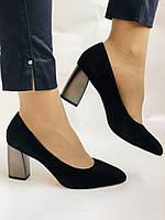 Женские модельные туфли-лодочки высокого качества. Натуральная замша. Цвет черный Рolann. Супер комфорт35-40, фото 2
