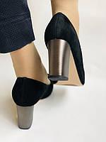 Женские модельные туфли-лодочки высокого качества. Натуральная замша. Цвет черный Рolann. Супер комфорт35-40, фото 9