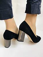Женские модельные туфли-лодочки высокого качества. Натуральная замша. Цвет черный Рolann. Супер комфорт35-40, фото 7