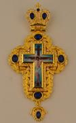Крест наперстный  золоч. с синими камнями