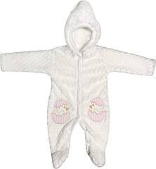 Дитячий теплий чоловічок зростання 56 0-2 міс махровий білий на дівчинку сліп з капюшоном для новонароджених