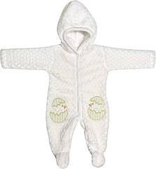 Детский тёплый человечек рост 56 0-2 мес махровый белый на мальчика девочку слип с капюшоном для новорожденных малышей С726