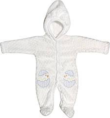 Дитячий теплий чоловічок зростання 56 0-2 міс махровий білий на хлопчика сліп з капюшоном для новонароджених