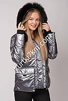 Зимняя куртка экокожа с мехом Snow owl 20612