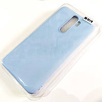 Чехол для Xiaomi Redmi Note 8 Pro матовый Silicone Case Full Cover Macarons Color Голубой