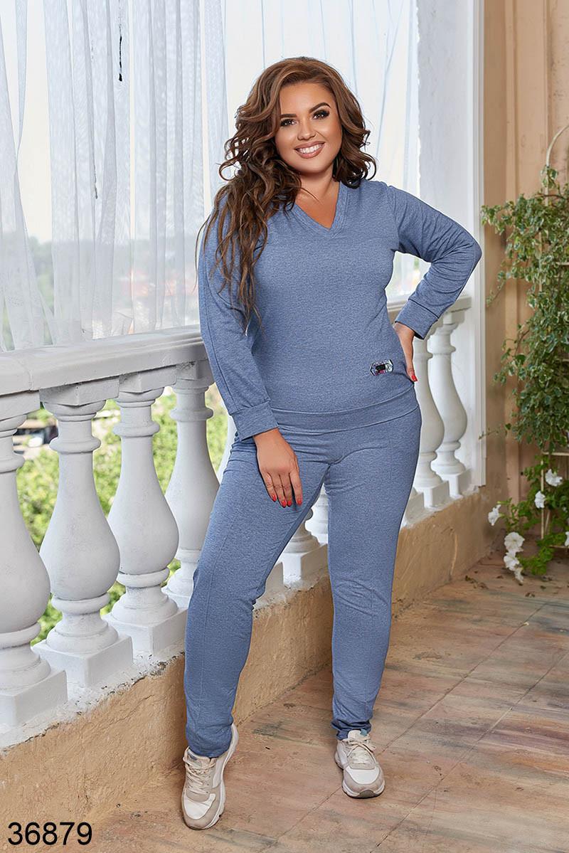 Женский спортивный костюм штаны + кофта с V вырезом р. 48-50, 52-54, 56-58, 60-62