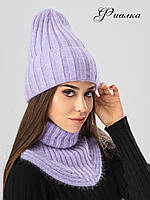 Илона - женская шапка ангора на флисе. 16 расцветок!