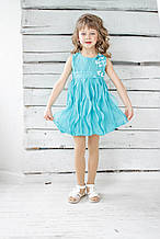 Нарядное платье для девочки Artigli Италия A04653 Бирюзовый