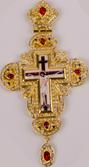 Хрест наперсный золоч. з черв. камінням 002