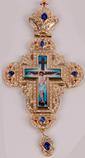 Хрест наперсный золоч. з синіми каменями 002