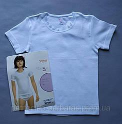 Футболка з коротким рукавом, біла для дівчинки (р. 92-164 см) (Sevim, Туреччина)
