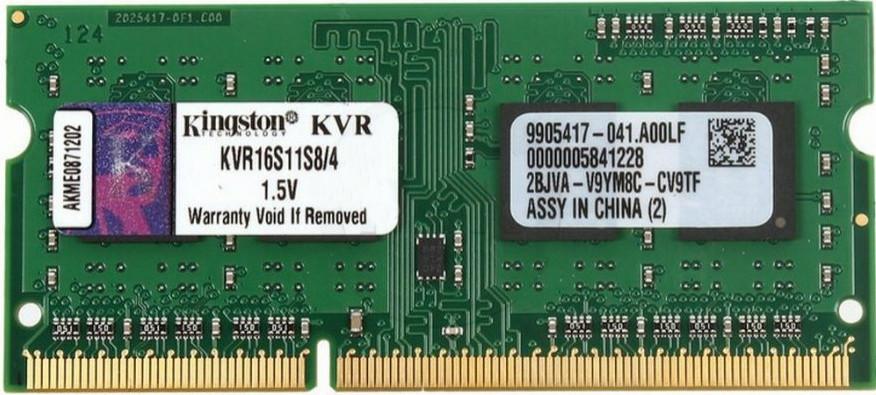 Оперативна пам'ять для ноутбука Kingston DDR3 1600 4GB SO-DIMM (KVR16S11S8/4)