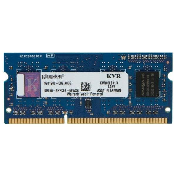 Оперативная память для ноутбука Kingston DDR3 1600 4GB SO-DIMM (KVR16LS11/4)