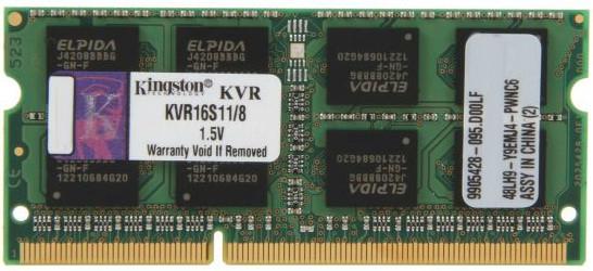 Оперативна пам'ять для ноутбука Kingston DDR3 1600 8GB SO-DIMM (KVR16S11/8)