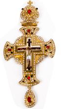 Хрест наперсный золоч. з черв. камінням 003