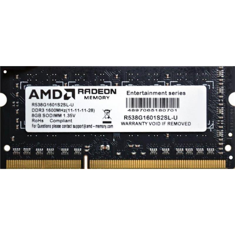 Оперативна пам'ять для ноутбука AMD DDR3 8GB 1600 SO-DIMM (R538G1601S2SL-U)