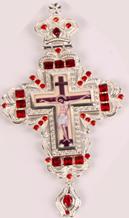 Хрест наперсный серебр. з черв. камінням 004
