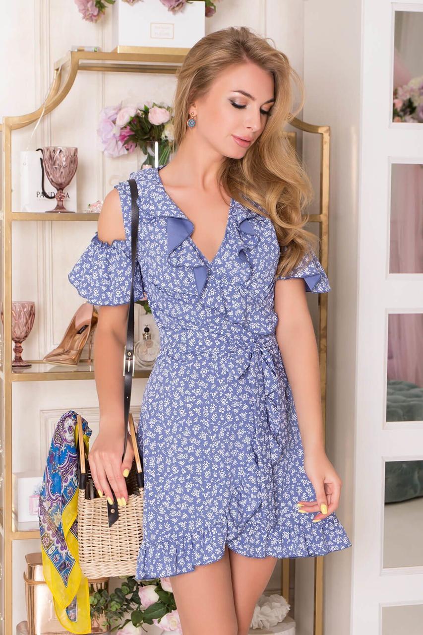 Летнее платье мини синее с запахом и рюшами, XL(50)