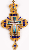 Хрест наперсный золоч. з синіми каменями 004